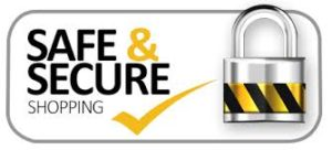 safe and secure shopping badge with yellow and black lock
